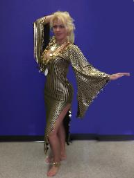 gold saidi dress, stretchy, lycra with paillettes